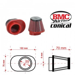 Filtre à Air conique BMC - ø50mm x 70mm - RLEFT SHIFTED