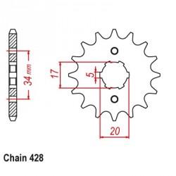 Pignon FE - Honda CBR125R-4-5-6-7-8-9-AJC34/39 04-10 - Pas 428