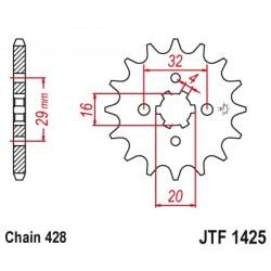 Pignon JT SPROCKETS 13 dents acier standard pas 428 type 1425